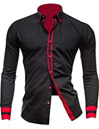 jeansian Men's Slim Fit Long Sleeves Casual Dress Shirts Tops 8697