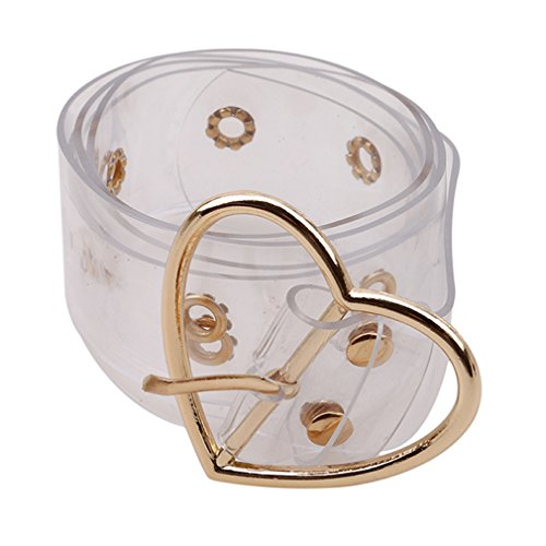 Dolland One Row Heart/Round/Square Grommet Belts for Men Women Personality All-match Transparent Buckle Belt Wide Waist Decoration,Gold Heart,40.551.30in