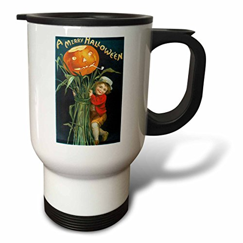 3dRose BLN Vintage Halloween - Vintage A Merry Halloween with a Young Boy with Corn Stalks and a Pumpkin - 14oz Stainless Steel Travel Mug (tm_126102_1)