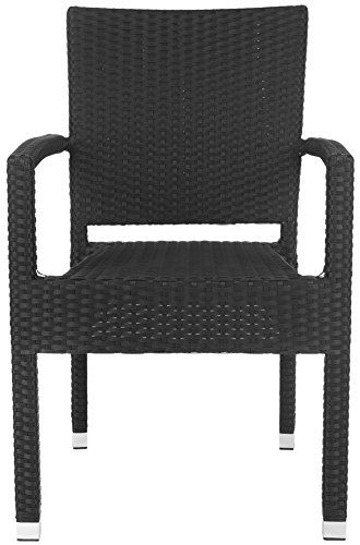 Safavieh Outdoor Living Collection Kelda Wicker Arm Chairs, Black, Set of 2