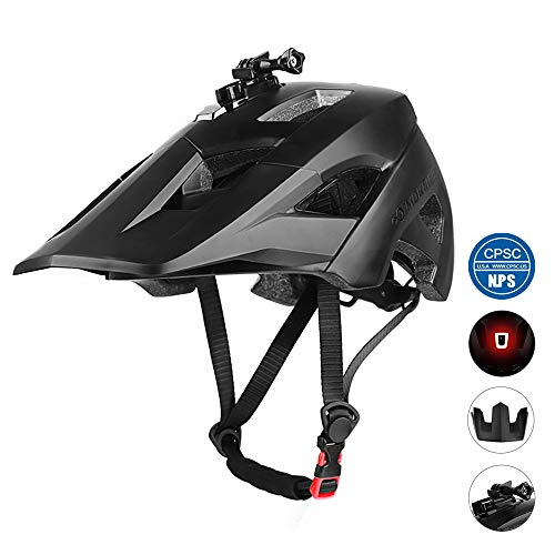 MOKFIRE Mountain Bike Helmet - Detachable Super Long Sun Visor with USB Safety Light & Camera Mount for MTB Adult Cycling Bicycle Helmet for Women and Men - Size (22.44-24.01 Inches) -Black (Specialized Mountain Helmet)