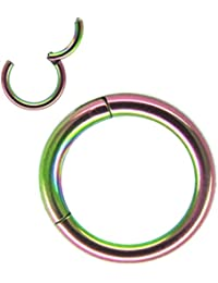 16G/14G/12G Rainbow PVD Anodised 316L Steel Septum Hinged Clicker Segment Nose Rings-inner diameter 6/7/8/9/10/12mm