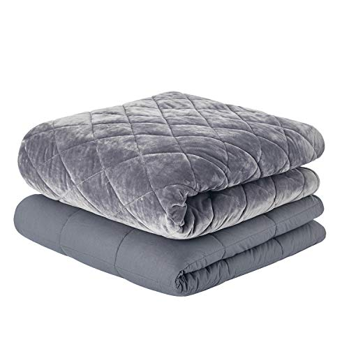 RelaxBlanket Weighted Blanket Luxury Set | 60''x80'',20lbs | for Individual Between 190-240 lbs | with Double Side Quilted Minky Duvet Cover | Super Cozy and Warm | Dark Grey- Diamond