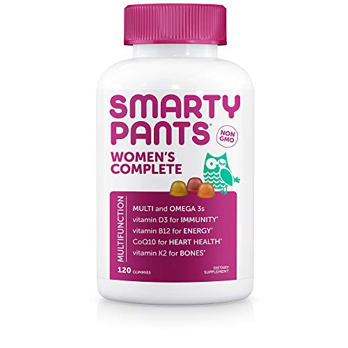 SmartyPants Womens Complete Daily Gummy Vitamins: Gluten Free, Multivitamin, CoQ10 & Omega 3 Fish Oil (DHA/Epa Fatty Acids), Folate (Methylfolate), Non-GMO, 120 Count (20 Day Supply)