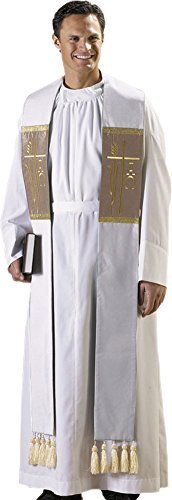 White Alpha Omega Clergy Stole with Tassels by Autom
