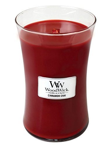 Spiced Green Tea Scent - Cinnamon Chai Woodwick Candle in Glass Jar, Large - 21.5 Oz