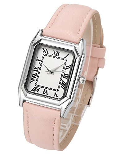 Top Plaza Women's Elegant Casual Square Dial Roman Numerals Analog Quartz Watch With PU Leather Band Pin Buckle(Pink)