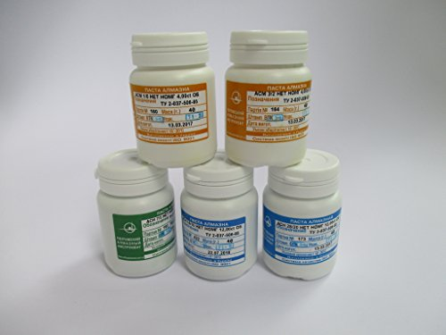 5pcs x 40gram 1/0, 3/2, 7/5; 14/10; 28/20 micron Diamond Polishing Lapping Paste by Poltava Diamond Tools