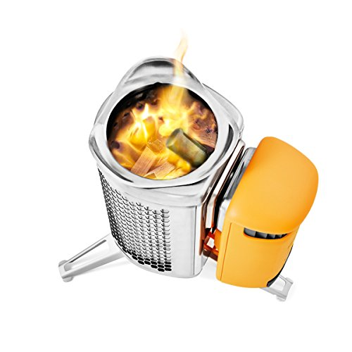 BioLite CampStove 2- Wood-Burning Small Lightweight Stove, USB FlexLight, Fire Starter, Generates 3W of Electricity for USB Charging Using Excess Heat, 5 x 5 x 8.3 Inches, Silver/Yellow (CSC1001) by BioLite