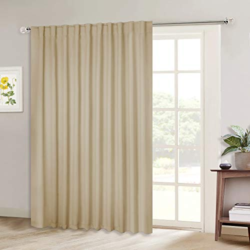 NICETOWN Sliding Door Blinds Window Treatment, Blackout Patio Door Curtain Panels, Privacy Thermal Drapes for Department (Biscotti Beige, W80 x L84)