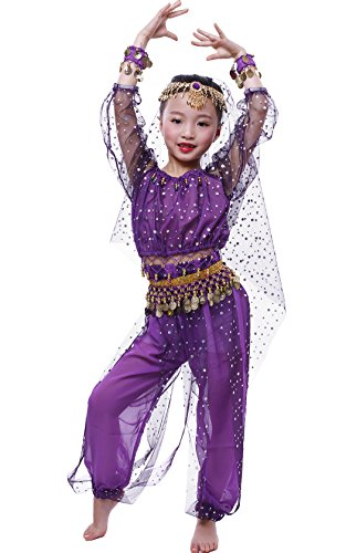 Astage Little Girl`S Belly Dance Costumes,Long Sleeve Highlights Top,Pants Purple (M fits 47in-52in) -