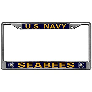 GND US Navy Seabees Metal Chrome License Plate Frame,US Navy License Plate Metal Frame Stainless Steel Chrome License Plate Frame with Screw caps from carbang