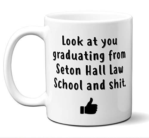 Law School Graduation Gift Coffee Mug, Tea Cup. Seton Hall Law School. Student Grad Idea JD Graduates, Women, Men, Him, Her Class 2019. Funny Academic Degree Congratulations. 11 oz.