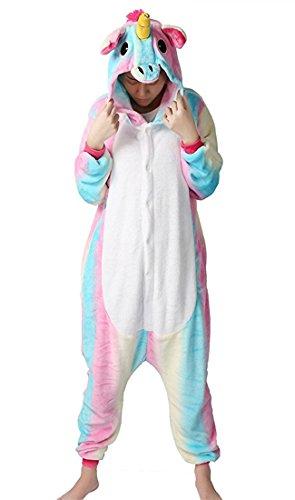 BELIFECOS Flannel Children Rainbow Colorful Unicorn Cosplay Costume Onesie Pajamas for (Kids Unicorn Costumes)