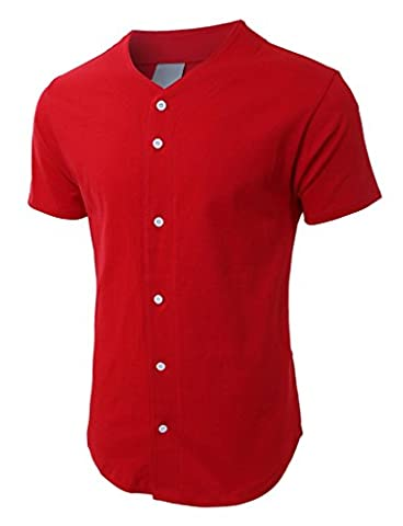 Mens Baseball Button Down Jersey Hipster Hip Hop T Shirts 1UPA01 (X-Large, Red) - Custom Raglan T-shirts