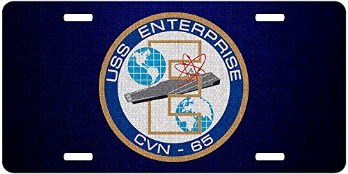 U.S. Navy USS Enterprise (CVN-65), supercarrier Emblem (Crest) Personalized Aluminum Metal License Plate Frame Cover U.S. Navy USS Military Auto Truck Car Front Tag 12 x 6 Inch ()