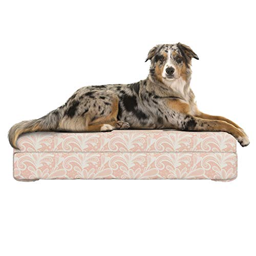 Grunge Lace - Lunarable Victorian Dog Bed, Doodle Style Grunge Lace Style Ornamental Pattern Abstract Vintage Floral Motifs, Dog Pillow with High Resilience Visco Foam for Pets, 32