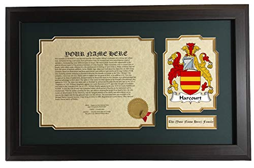 Harcourt - Coat of Arms and Last Name History, 14x22 Inches Matted and Framed