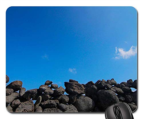 Mouse Pads - Cozy Seopji Jeju Island Beach Sea Stone Wall Sky