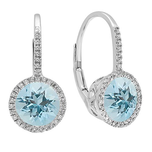 Dazzlingrock Collection 14K Round Cut Aquamarine & White Diamond Ladies Halo Style Dangling Drop Earrings, White Gold