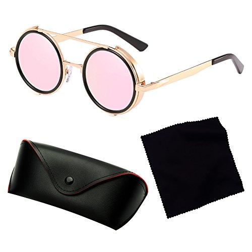 bf82acedc8 ... Mode Lunettes de soleil rondes lunettes de soleil Steampunk hibote  Femmes Hommes Lunettes de vue Retro ...