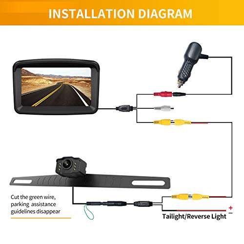 Backup Camera with Monitor License Plate Mounted Digital Reversing observation Camera Night Vision Waterproof Rear View for 5'' LCD Monitor be Used for Safety Driving of Vans,Trucks,Camping Cars,RVs,et by Xroose (Image #5)
