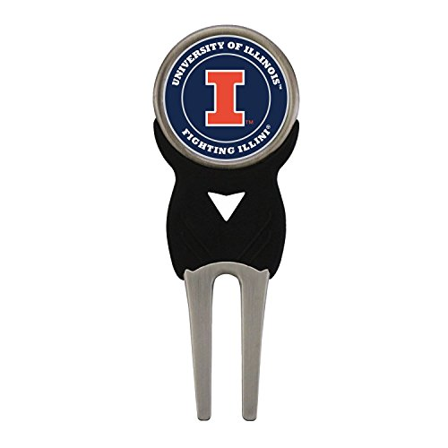 Waggle Pro Shop Illinois Illini Divot Tool with Double Sided Golf Ball - Golf Ball Illini