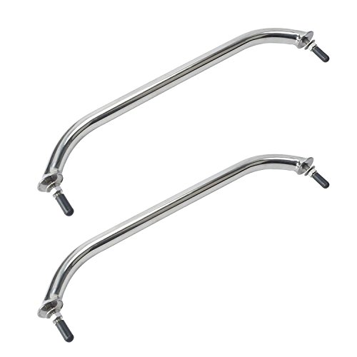 - Amarine-made Pair of Polished Stainless Heavy Duty Oval Boat Marine Grab Handle Hand Rail with Flange & Stud - 16