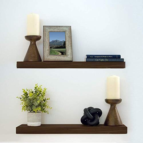 "Floating Shelves Wood Floating Shelves Set - New England Handcrafted Rustic Pine Kitchen Office Bedroom Wall Mounted Smooth Finish Organizers 2 Pack (2'' x 7.5'' x 24'' & 36"") (Espresso, 36'')"