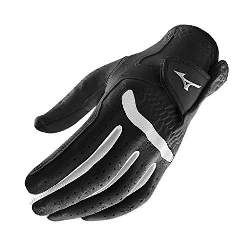 **Pack of 1** Mizuno 2015 All Weather Comp Mens Golf Gloves Left Hand (Right Handed Golfer) Black/White (Black Comp Gloves)