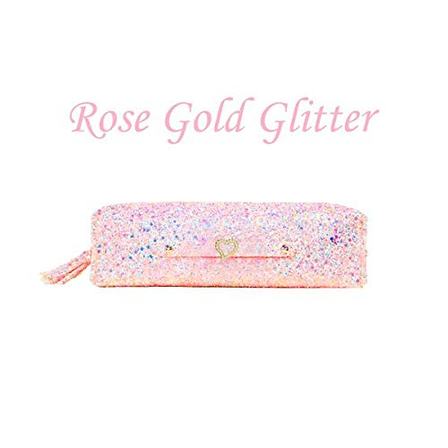 Pencil Case Makeup Pouch - Gold Glitter