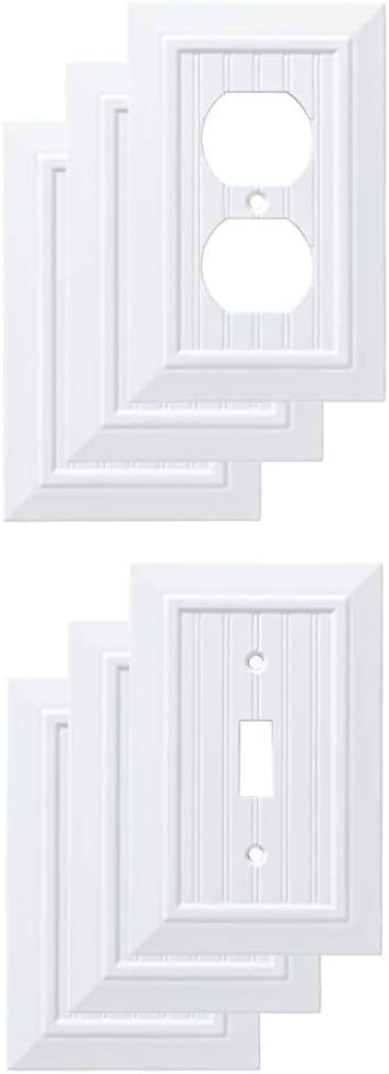 Franklin Brass W35266V-PW-C Classic Beadboard Single Duplex (3 Pack), with W35265V-PW-C Classic Beadboard Single Switch Wall Plate/Switch Plate/Cover (3 Pack), Pure White