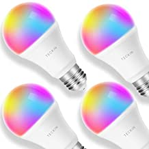 TECKIN Smart LED Bulb WiFi E27 Dimmable Multicolor Light Bulb Works with Alexa, Echo, Google Home and IFTTT (No Hub Required) A19 60W Equivalent RGB Color Changing Bulb (7.5W), with Schedule Function (4 PACK)