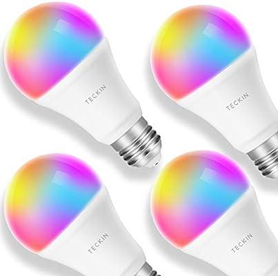TECKIN Bombilla LED inteligente WiFi ajustable y lámpara multicolor Funciona con Alexa, Echo, Google Home y IFTTT, E27 60W RGBW equivalente 7.5W bombilla de ...