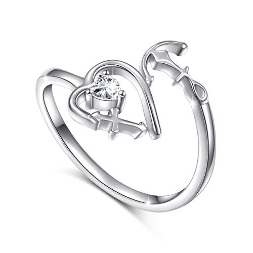 (S925 Sterling Silver Faith Hope Love Heart Cross Anchor Adjustable Ring)