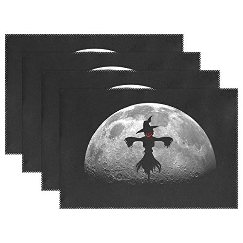ZZKKO Halloween Scarecrow with Full Moon 12x18 Inch Placemats for Kitchen Table Colorful Polyester Water Resistant Home Decor Plate Mat Set of 6,Multicolor ()