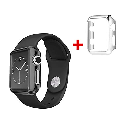 Tech Express Compatible W/Apple Watch [iWatch] Series 1, 2 & 3 Full TPU Screen Protector Case + Color Wristband Replacement Protective Active Sports Protection Accessories Cover Combo (Black, 42mm) by Tech Express