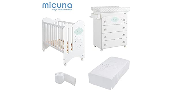 MICUNA - Pack Lili Blanco: Cuna (120 X 60) + Bañera + Edredón + Protector: Amazon.es: Bebé