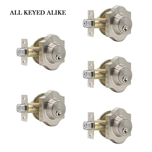 Keyed Alike Single Cylinder Deadbolts with Same Keys in Satin Nickel Finish, Classic Interior Door Lock Bolt for Safety, Combo Pack Featuring of 5