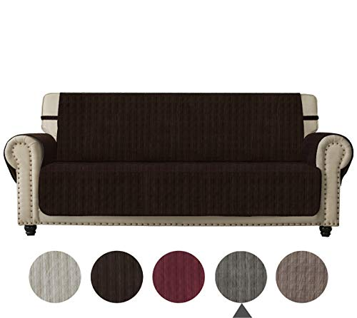 Ameritex Sofa Cover Slip Resistant Sofa Slipcover Protector, Suede-Like, Slip Reducing Backing, Furniture Cover Perfect Couch Cover for Children, Dogs, Pets (Chocolate, XL Sofa)