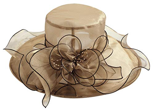 Bellady Women Floral Wide Brim Church Derby Kentucky Dress Cap Tea Party Bridal Wedding Hats,Golden