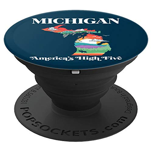 Michigan Outside - America's High Five Vintage Nature   PopSockets Grip and Stand for Phones and Tablets