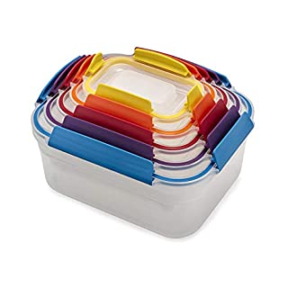 Joseph Joseph Nest Lock Plastic Food Storage Container Set with Lockable Airtight Leakproof Lids, 10-piece, Rainbow