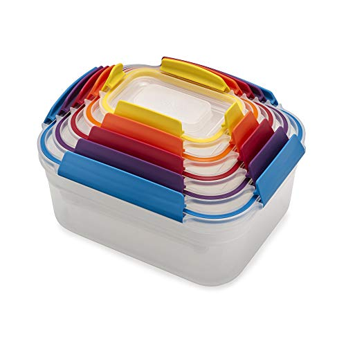 Joseph Joseph 81098 Nest Lock Plastic Food Storage Container Set with Lockable Airtight Leakproof Lids, 10-piece, Multicolored by Joseph Joseph