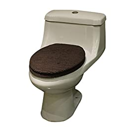 Qianle Soft Thick Cotton Blend Toilet Seat Cover Toilet Tank Cover Bathroom Decor Coffee