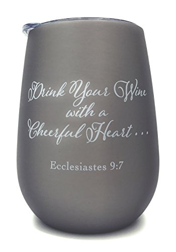 Christian Stemless Insulated Wine Glass Tumbler - Christian Bible Gift - Scripture - Motivational - Inspirational by MPC