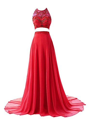 2017 Halter Red Long Fanciest Party Blue Dresses Women's Piece Gowns Evening Royal Prom Two 0xxOqw5