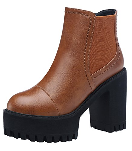 Passionow Christmas Women Fashion Cozy Winter Fur Side Zipper Slip-on Booties With Rough High Heel(8 B(M)US, Chestnut)