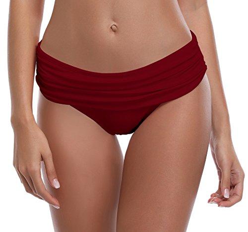 SHEKINI Women's Swimsuit Hipster Bikini Bottoms Full Coverage Ruched High Waisted Swim Bottoms (Medium, Wine Red) ()