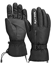 KUTOOK Winter Ski Snow Gloves Windproof Thermal Touch Screen Non-Slip Palm with Zipper Pocket for Snowboarding